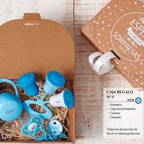Caja Regalo N.1 (Chupete+Cadena+Sonajero+Caja) Azul
