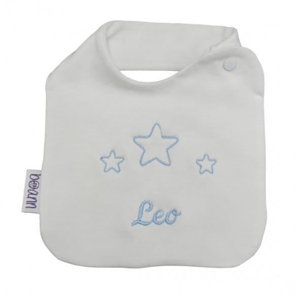Babero bordado estrellas azul