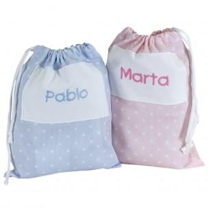 Bolsa merienda bordada rosa y azul