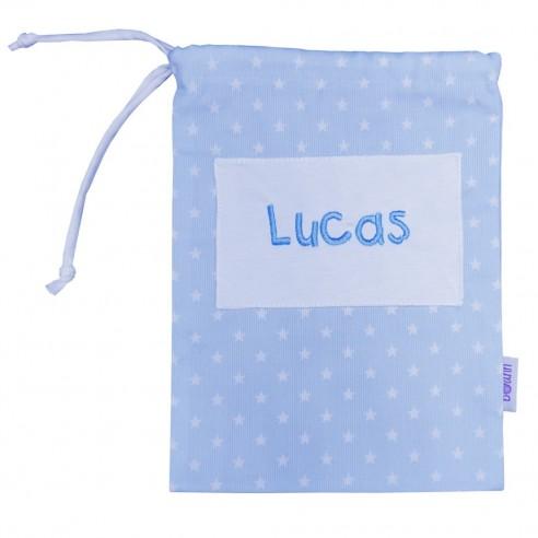 Bolsa merienda bordada azul