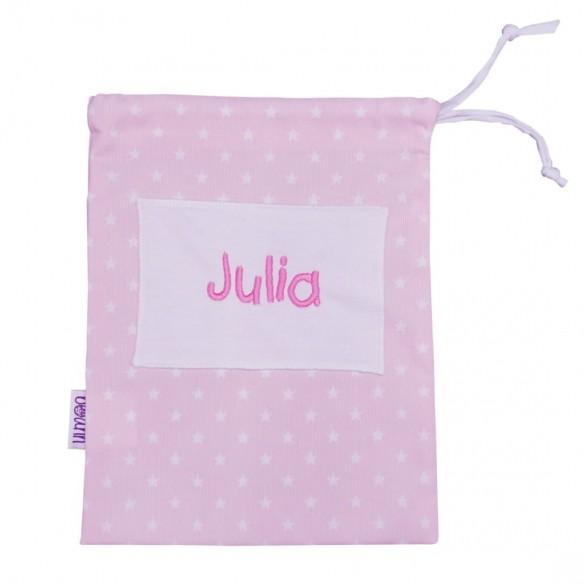 Bolsa merienda bordada rosa