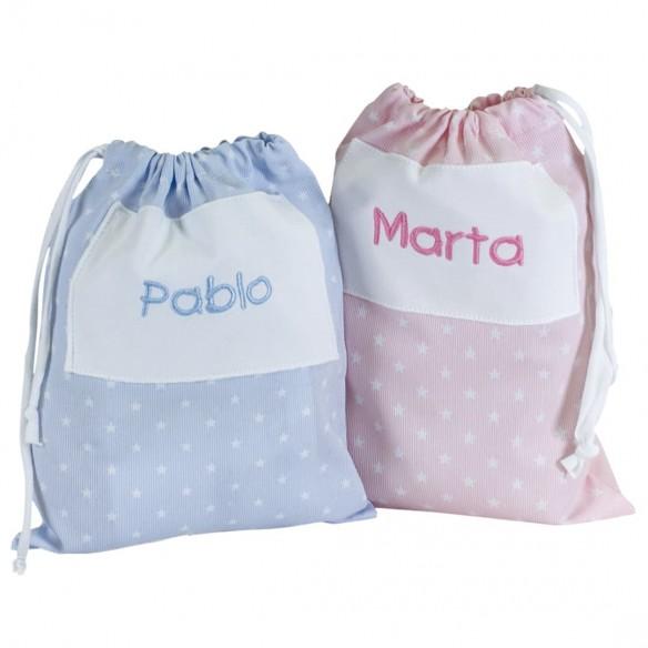 Bolsa merienda bordada rosa y azul 02