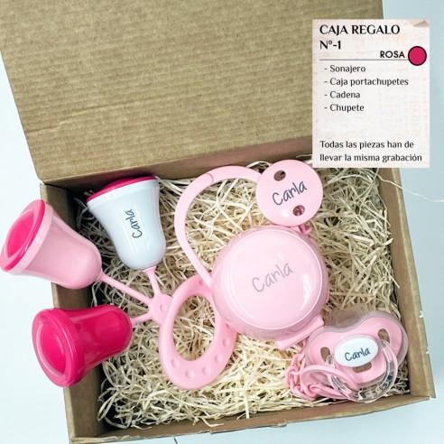 Caja Regalo N.1 Personalizada - Rosa (Chupete + Cadena + Sonajero + Portachupetes)
