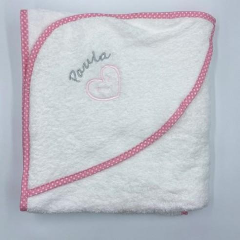 Capa baño corazon rosa